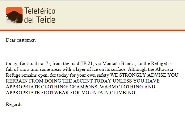 Teleferico warning