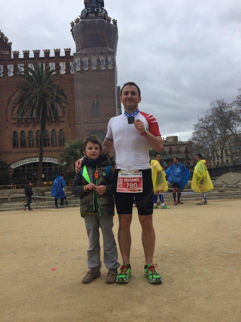 После финиша на полумарафоне в Барселоне