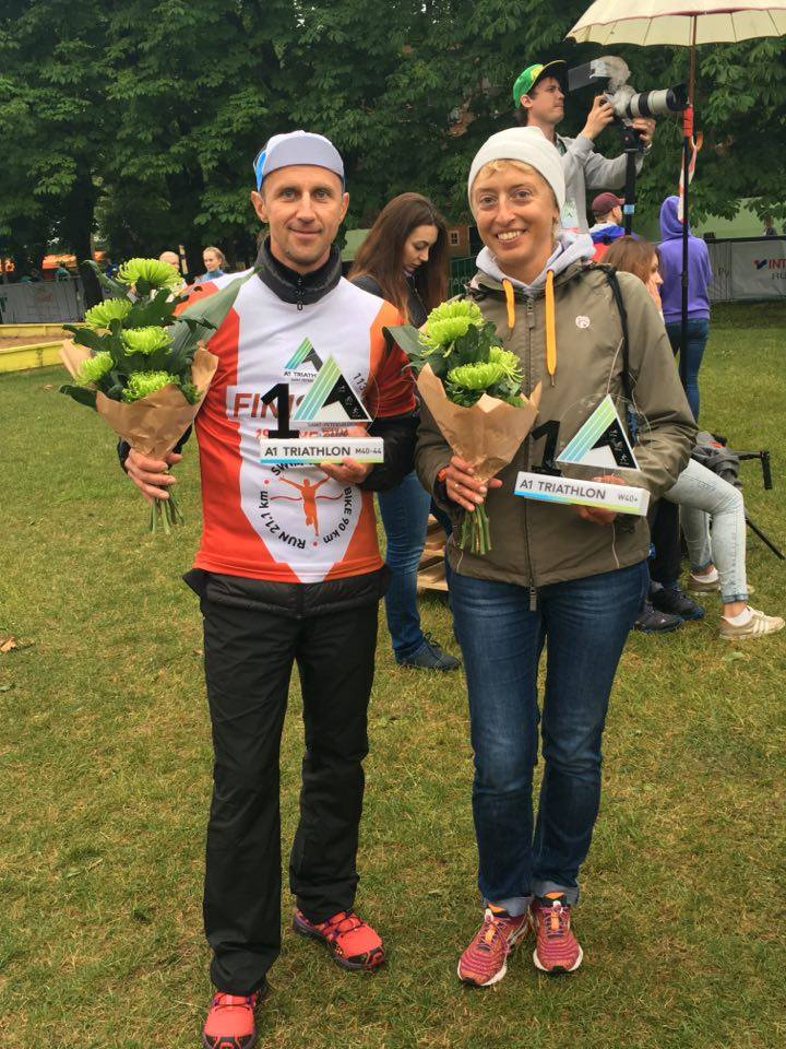 Константин Волков и Наталия Борисова на триатлоне А1 113